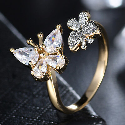 Two Butterfly Silver & Gold Filled Crystal Rhinestone Open Band Women Lady Ring