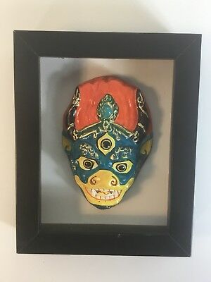 Hand Painted Mongolian Mask In Boxed Frame.