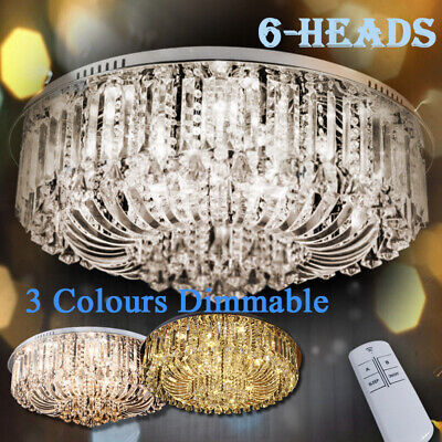 18f02dca81 GENUINE K9 CRYSTAL Flush Ceiling Light Chandelier 3 Colours + Remote ...