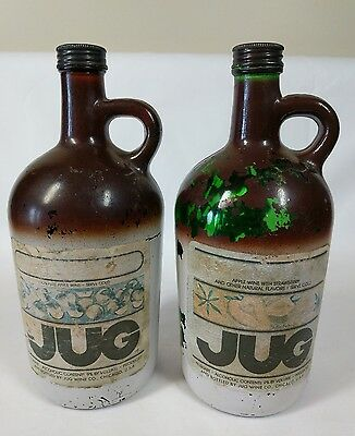 Vintage Apple Wine with Strawberry Brown Glass Jug with Lid 4/5 Qt Bottle~2 Jugs