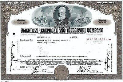 American Telephone & Telegraph Company N.Y. (AT&T) 1970 (100 Shares)