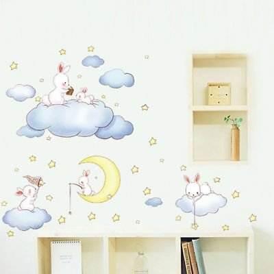 Wall Stickers For Kids Room Baby Bedroom Decor Moon Stars Clouds Wall Decal
