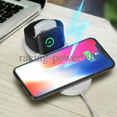 2in1 Qi Wireless Charger Fast Charging Stand Dock Pad For Apple Watch iPhoneX/8