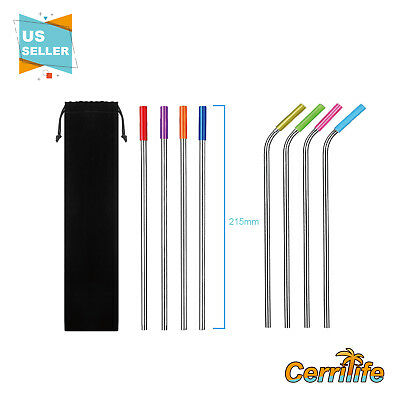 US New 8pcs Stainless Steel Metal Drinking Straw Reusable Straws - 21.5cm/8.46in