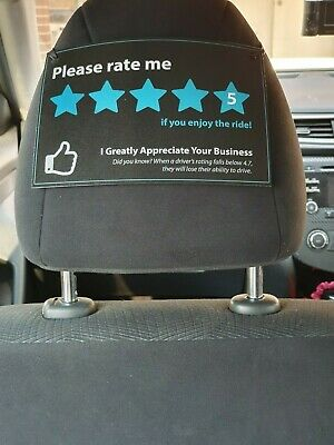 2 X Uber RideShare OLA DIDI TAXIFY Banner Sign for 5 STAR RATING - A4/A5 SIZE