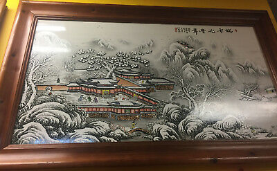 "VINTAGE CHINESE PALACE SNOWY SCENERY HAND PAINTED PORCELAIN ART FRAMED 45""x27"""