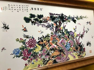 "VINTAGE CHINESE BIRDS OF PARADISE HAND PAINTED PORCELAIN ART FRAMED 45""x25"""