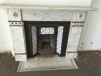 Classic White Marble Mantel Cast Iron Fireplace