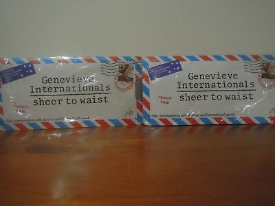 Genevieve Internationals Sheer To Waist Pantyhose Two Pairs New Never Used