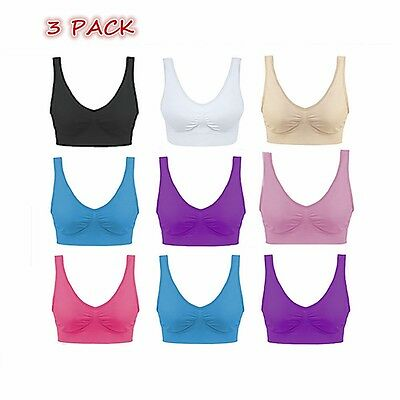 Pack Of 3 Seamless Bra Crop Top Vest Comfort Shapewear Sports Bras AU