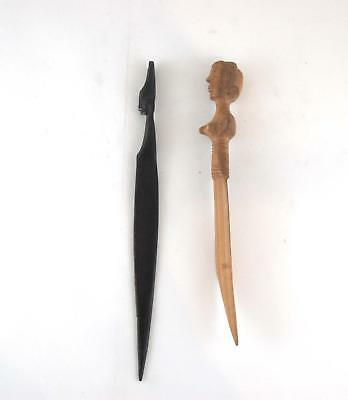 VTG Lot of 2 Brown Hand Carved Wood African Tribe People Wooden Letter Openers