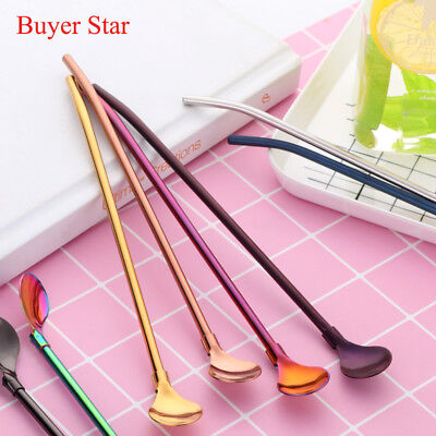 1PCS Stainless Steel Sipping Straws Spoons Ice Coffee Stirring Spoon Bar Rainbow