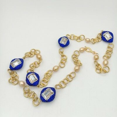 34'' Gold Plated Chain Champagne Rice Pearl Blue Crystal Pave Bead Necklace
