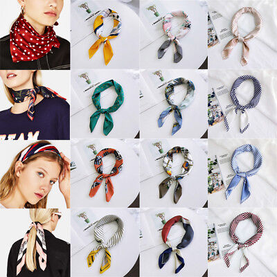 Women's Vintage Striped Silk Satin Square Scarf Neck Tie Hair Band Wristband`