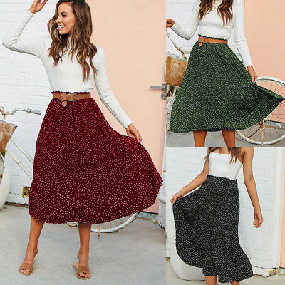 Fashion Women Pleated Polka Dot Printed Swing Boho Long Maxi Evening Party Skirt