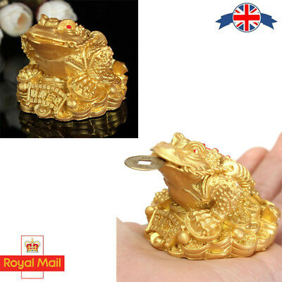 Feng Shui Lucky Gilded Gold 3 Legs Money Frog Toad Ingot Coin Furnishings Decor