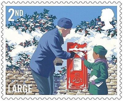 GB Stamps 2018 'Christmas Postbox' 2nd Class Large S/A - U/M