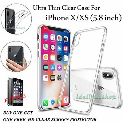 Ultra Thin Slim Clear Silicone Case Cover With Dust Plug For Apple iPhone X XS