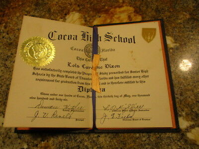 Vintage 1946 COCOA FLORIDA  High School Graduation Diploma W/ORIG COVER VG