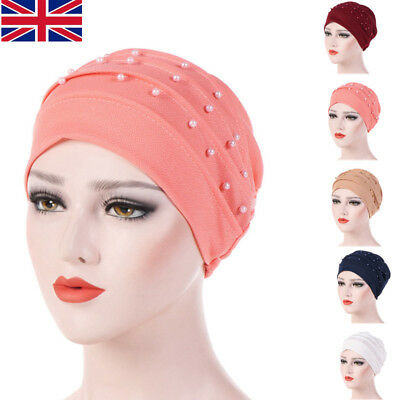UK STOCK Folding Headscarf Wraps Solid Ladies Cancer Chemo Cap Casual Turban Hat