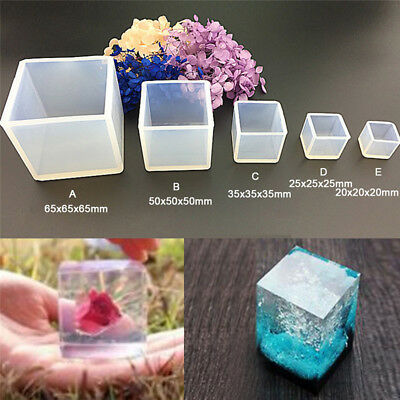 DIY Silicone Pendant Mold Jewelry Making Cube Resin Casting Mould Craft Tool PB