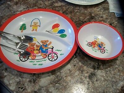Vintage Melamine Childs Divided Plate and Bowl Three Bears
