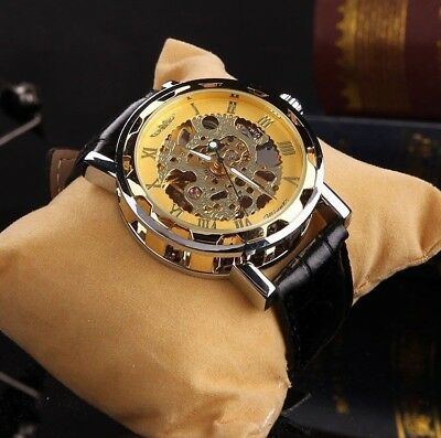WINNER Mechanical Synthetic Leather Transparent Skeleton Classic Hand Wind Watch