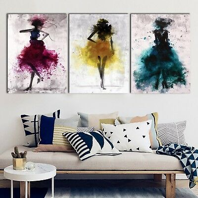Watercolor Blue Purple Yellow Model Abstract Framed Canvas Modern Wall art