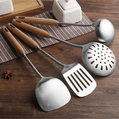 Slotted Spatula Turner Stainless Steel Wooden Handle Grilling Frying Spoon