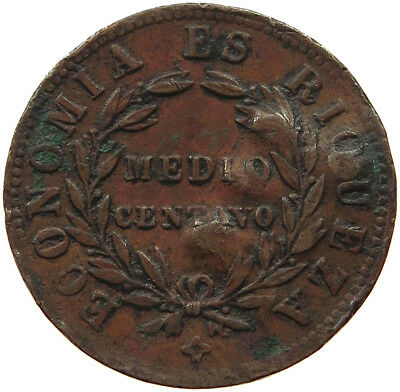 CHILE 1/2 CENTAVO 1853 COUNTERMARKED MA  #t38 285