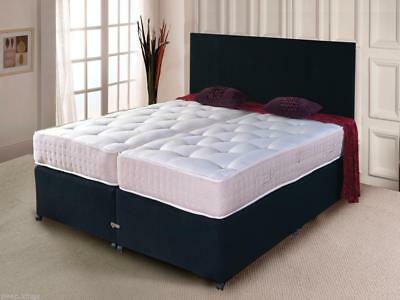 Zip And Link Bed Divan Bed + Ortho Mattress And Headboard In Black
