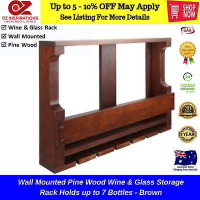 Wooden Wine Storage Rack Glass Holder Bar Furniture Organiser Cafe Display Shelf