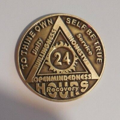 AA BRONZE 24 hours welcome desire sobriety chip coin token medallion