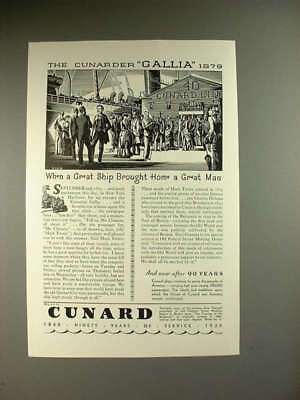 1930 Cunard Gallia Ship Ad - Mark Twain