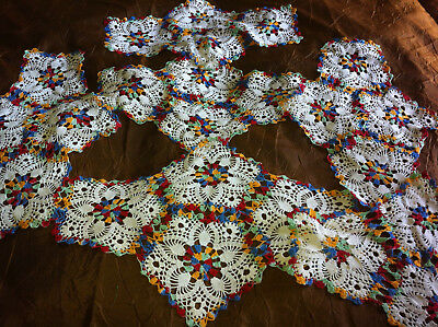 Lot Of Six Antique Doilies Crochet Lace Geometric Embroidery Hand Made