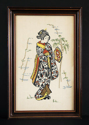 Vintage Textile Framed Embroidery - Japanese Girl In Costume
