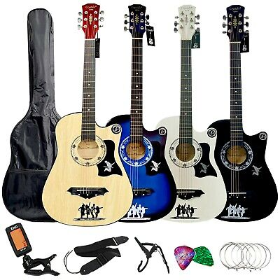 """4/4 Size 38"""" Classic 6 String Acoustic Guitar Pack Boys Girls Music Guitar Stand"""