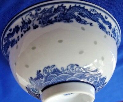 NEW !  blue and white porcelain rice bowl w/ pattern dragon, bat, exquisite eyes