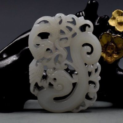 Chinese Natural Hetian Jade Hand-carved Dragon & Phoenix Pendant D8