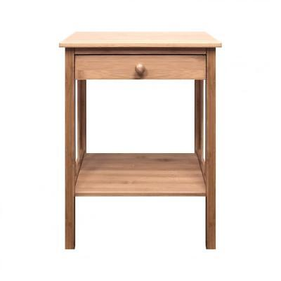 Woodluv Bedside Bamboo Table Unit with Drawer and Bottom Shelf Storage Unit-...