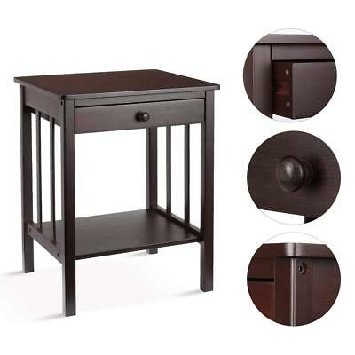 Woodluv Bedside Bamboo Table Unit with Drawer & Bottom Shelf Storage Unit- Brown