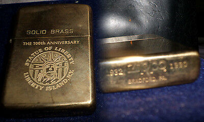 zippo lighter vintage 1990 solid brass statue of liberty anniversary