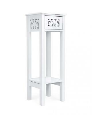Provence Fretwork French Inspired Hallway Side Table Bedside Unit in MDF- White
