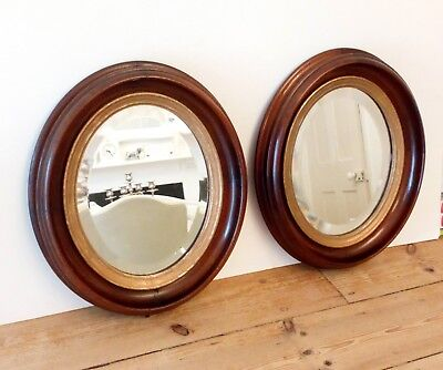Pair Of Beautiful Victorian Antique Wooden Oval Bevelled Mirrors, Set Of 2