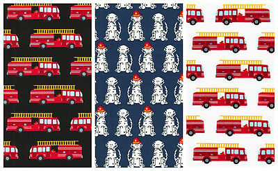 Fire Pups by Robert Kaufman 100% cotton fabric - per FQT - fire engines