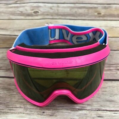 afe7be41cb8e Uvex Vintage Womens 1980s Ski Goggles Anti Fog Double Lens Gold Green Neon  Pink