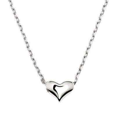 Solid 925 Sterling Silver Shiny Small 3D Love Heart Pendant Charm Chain Necklace