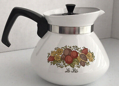 Corning Ware  Spice of Life  6 Cup Tea/ Coffee Pot With Metal Lid