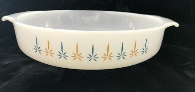 """Anchor Hocking Fire King Casserole Dish vintage  Milk Glass Candle Glow 9"""" Round"""