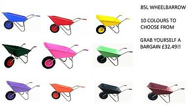 85L Wheelbarrow wheel barrow with pneumatic wheel garden horse stable equestrian